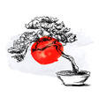 Bonsai and watercolor Japanese flag vector image vector image