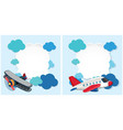 border templates with airplanes and blue clouds vector image