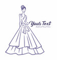 bridal wear fashion logo wedding gown dress vector image