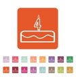 Cake with candles in the form of number 4 icon vector image vector image