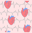 cardiology seamless pattern with heart symbol in vector image