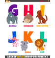 cartoon alphabet set with cute animal characters vector image vector image