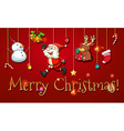 Christmas poster with ornaments vector image vector image