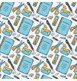 color seamless pattern with school stationery vector image