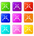 crossed japanese daggers icons 9 set vector image vector image