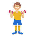 cute guy raises heavy dumbbells vector image vector image