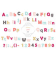 cute polka dot colored font for kids vector image vector image