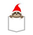 cute sloth face head in pocket santa hat vector image