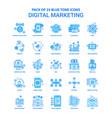 digital marketing blue tone icon pack - 25 icon vector image