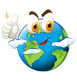 Earth with face and thumb up vector image vector image