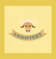 flat shading style icon bull logo vector image vector image