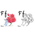 flower alphabet letter f coloring page vector image vector image