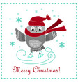 funny card with skating owl vector image