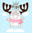 funny hand draw deer hugs and love vector image
