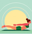 girl lies in yoga locust pose or salabhasana vector image vector image