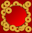 Gold coins background for Chinese New Year card vector image vector image