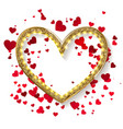 golden glitter heart frame vector image