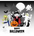 happy halloween night party set characters vector image