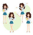 happy school girl with a books in hand vector image vector image