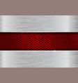 iron brushed metal background with red perforation vector image vector image