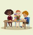 jenga children play in wood block game jenga vector image