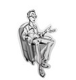 journalist man sitting on a chair sketch vector image vector image