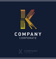 k company logo design with visiting card vector image vector image