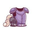 knight armor and helmet fantasy icon vector image