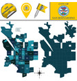 map san bernardino ca with neighborhoods vector image vector image