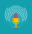 microphone on halftone background vector image