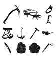 mountaineering and climbing black icons in set vector image