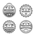 mushrooms set of four round black labels vector image vector image