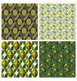 olive set seamless backgrounds vector image vector image