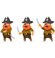 pirate in different poses vector image vector image