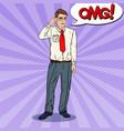 pop art confused businessman in eyeglasses vector image vector image