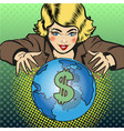pop art global business concept vector image