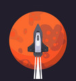 rocket ship and mars in cartoon style new vector image vector image