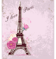roses and Eiffel tower vector image