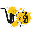 saxophone with music notes in background vector image vector image