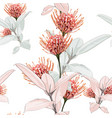 seamless tropical protea flowers vector image vector image