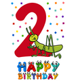 second birthday cartoon card vector image vector image