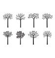 set black trees vector image