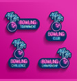 set neon logos in pink-blue colors with falling vector image