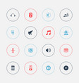 set of 16 editable mp3 icons includes symbols vector image vector image
