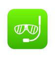 swimming mask icon digital green vector image vector image