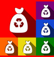 trash bag icon set of icons with flat vector image vector image