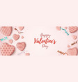 valentines day horizontal banner pink abstract vector image vector image