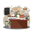 woman baker selling pastry sweet desserts in vector image