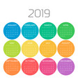 year 2019 calendar with months in colorful circle vector image