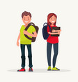 young couple students couple students vector image vector image